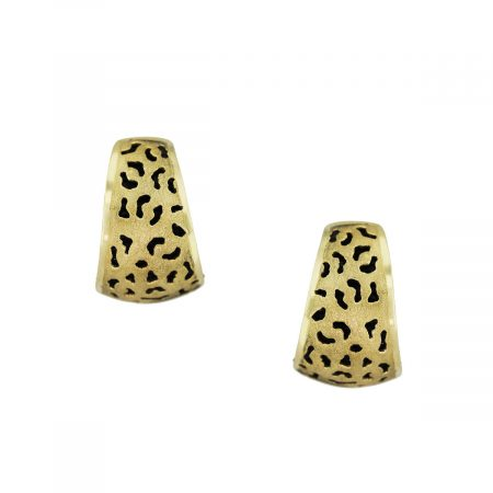 Gold Handmade Earrings with Black Bamboo Inlay
