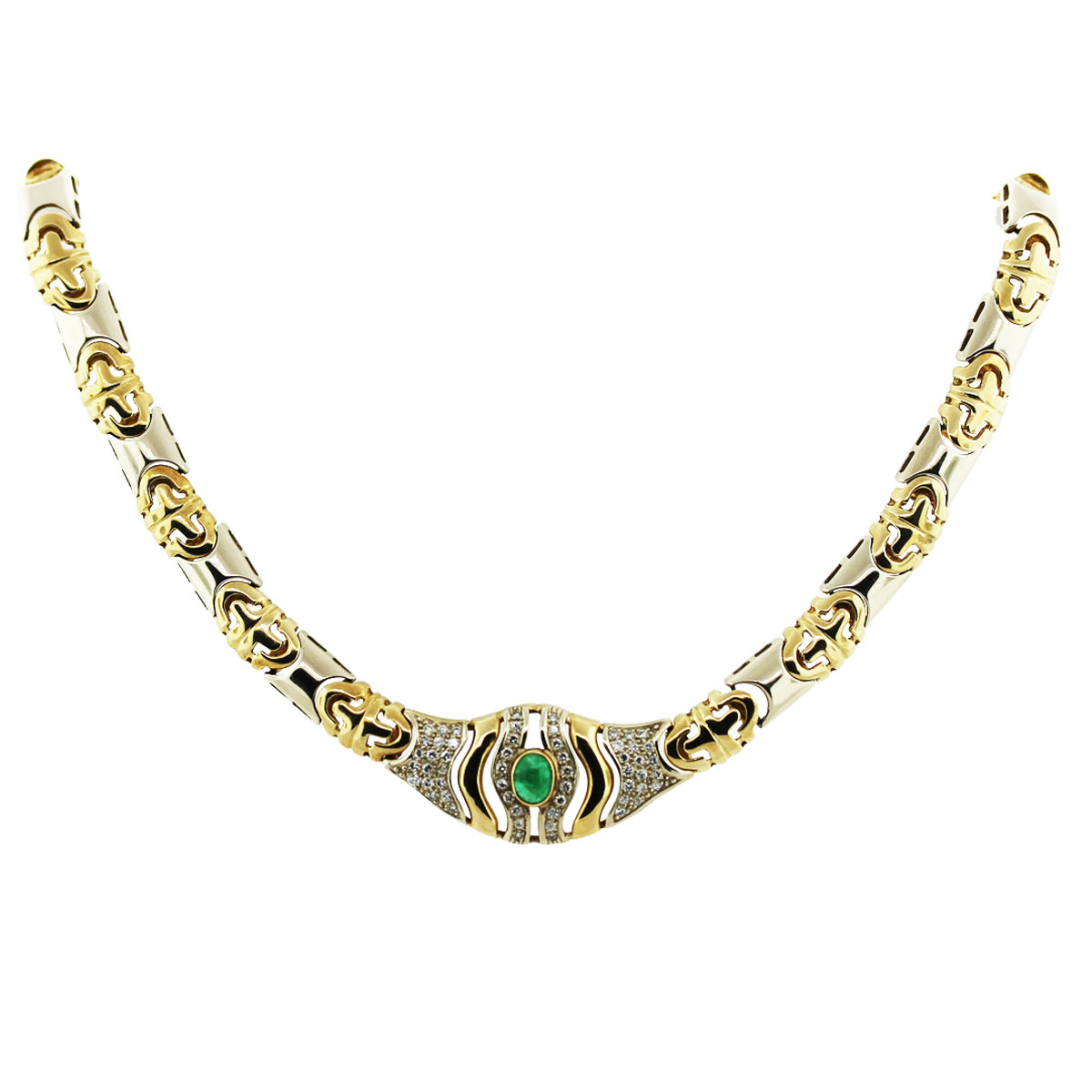 14k Two Toned Gold, Diamond Emerald Stampato Link Necklace
