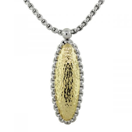 14k Two Tone Gold Hammered Oval Pendant Chain Necklace