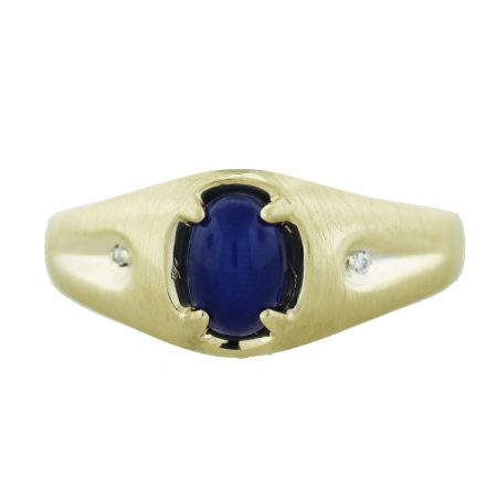 10k Yellow Gold Linde Blue Star Sapphire Diamond Accent Ring