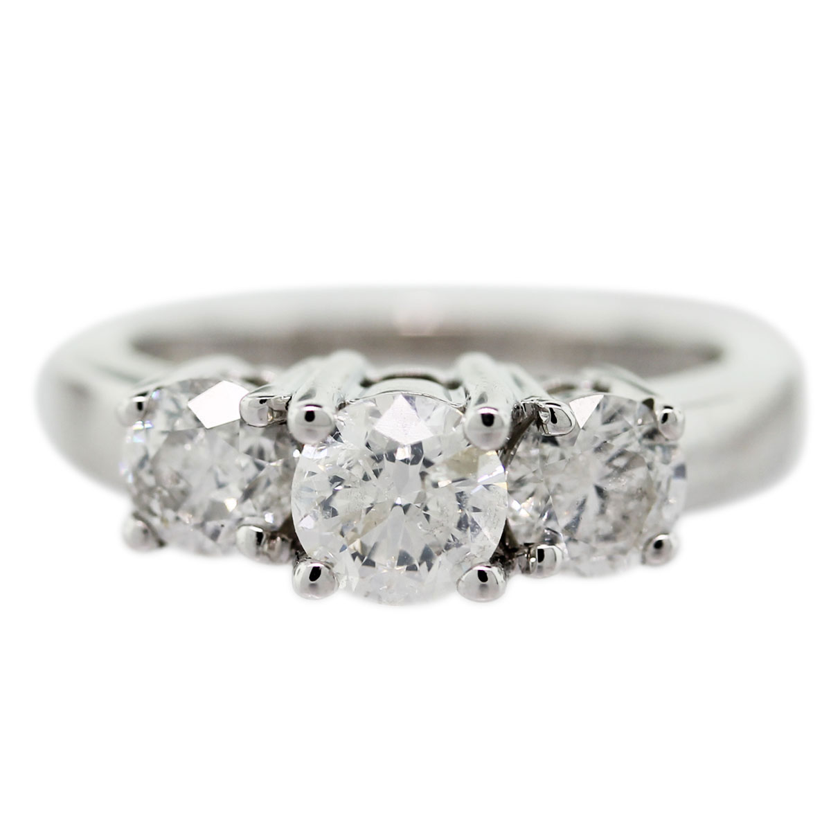 14k white gold diamond 3 stone engagement ring With 3 stone diamond wedding rings
