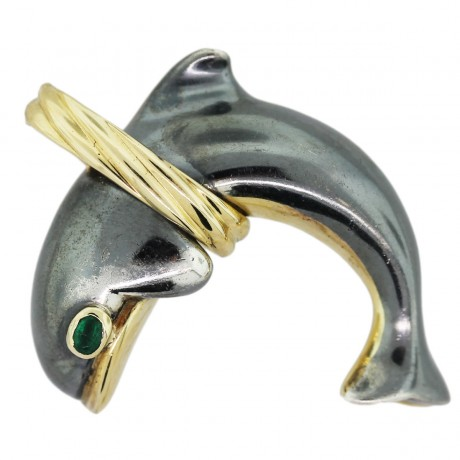 18k Yellow and Oxidized White Gold and Emerald Dolphin Pendant
