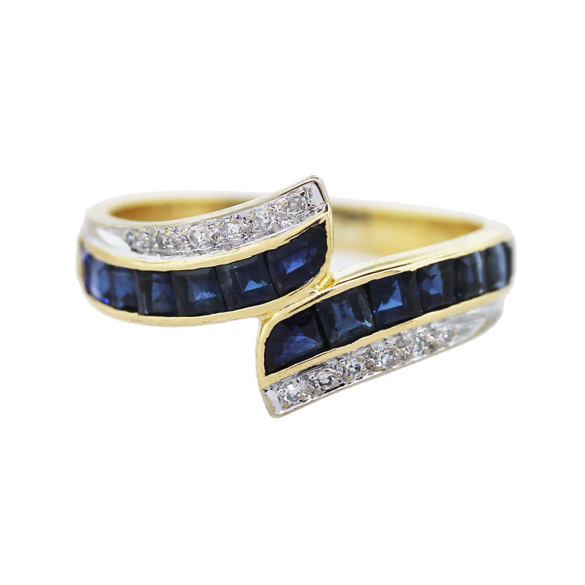 You are viewing this 18k Yellow Gold, Diamond and Sapphire Bypass Ring!