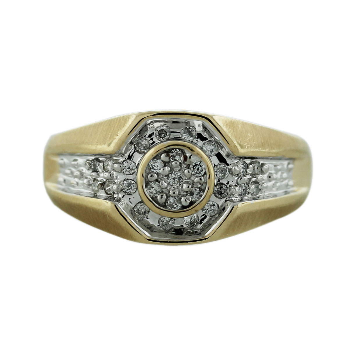 10k Yellow Gold Pave Diamond Mens Ring