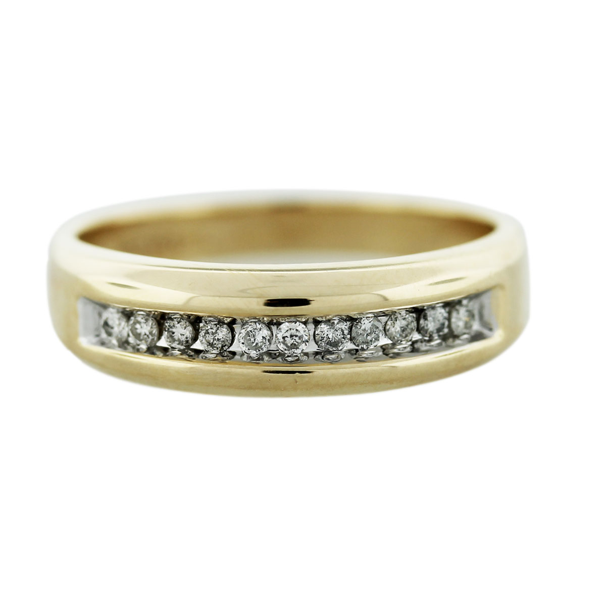 10k Yellow Gold Diamond Mens Wedding Band Ring