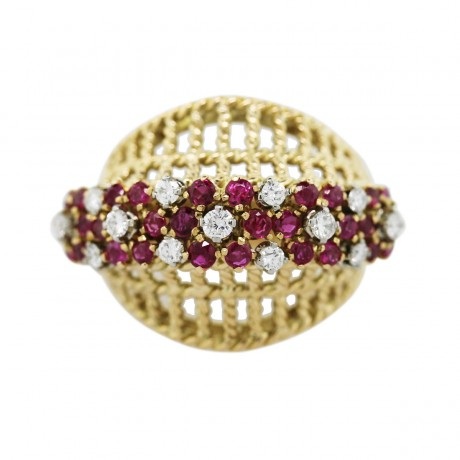 18k Yellow Gold, Ruby and Diamond Basket Ring