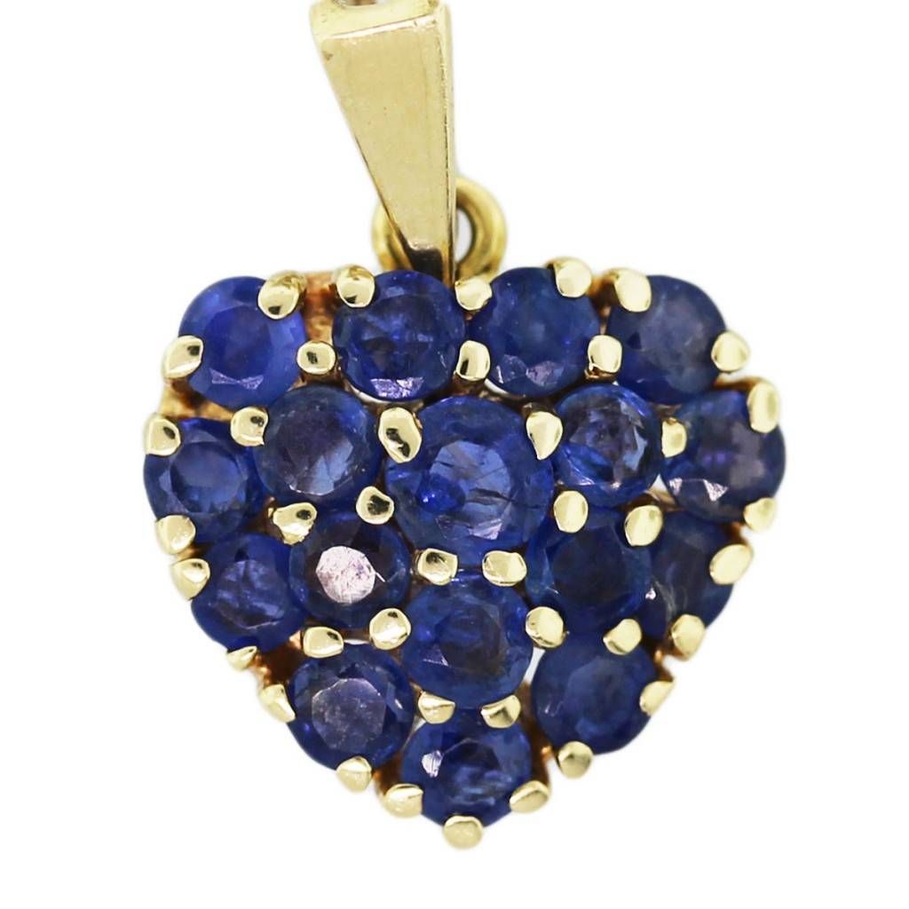 Tiffany co 14k yellow gold blue sapphire pave heart pendant 14k yellow gold blue sapphire pave heart pendant aloadofball Image collections