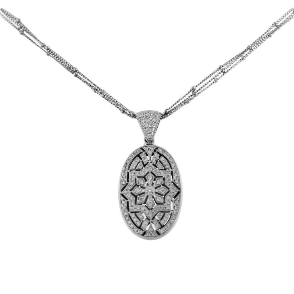 18k white gold vintage style pendant chain