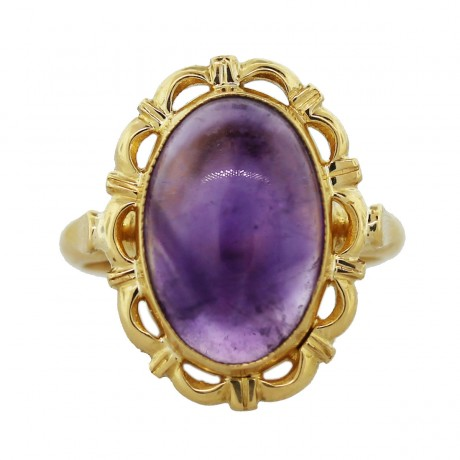 18k Yellow Gold Amethyst Cabochon Ring