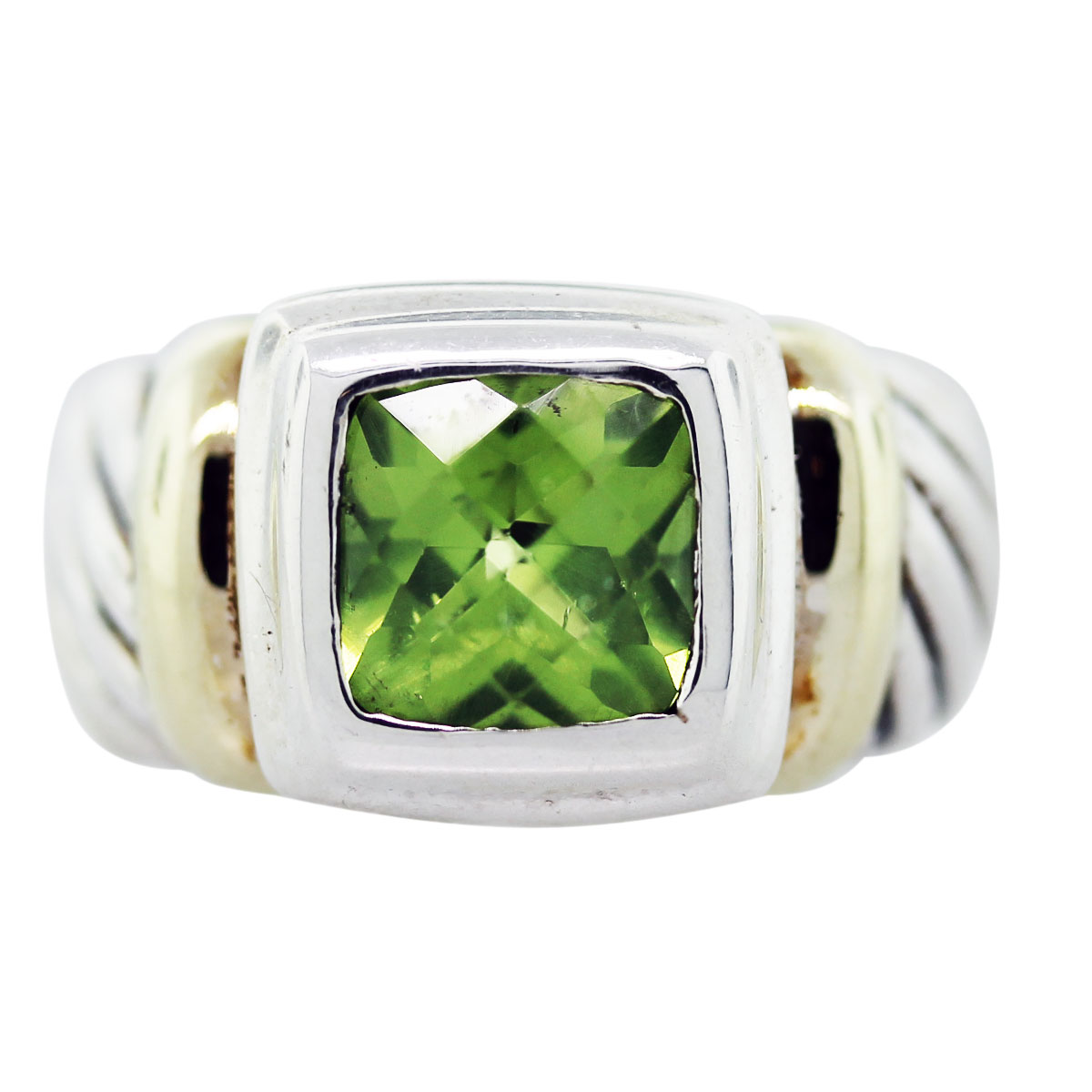 david yurman peridot green cable ring