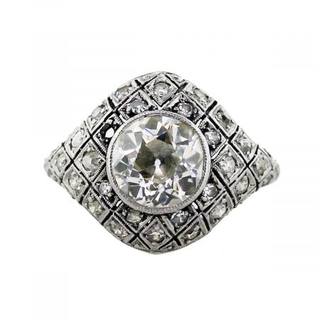 Platinum 2 Carat Brilliant Cut Diamond Vintage Engagement Ring
