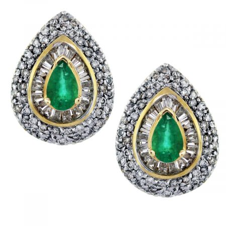 gold emerald diamond earrings ladies boca raton