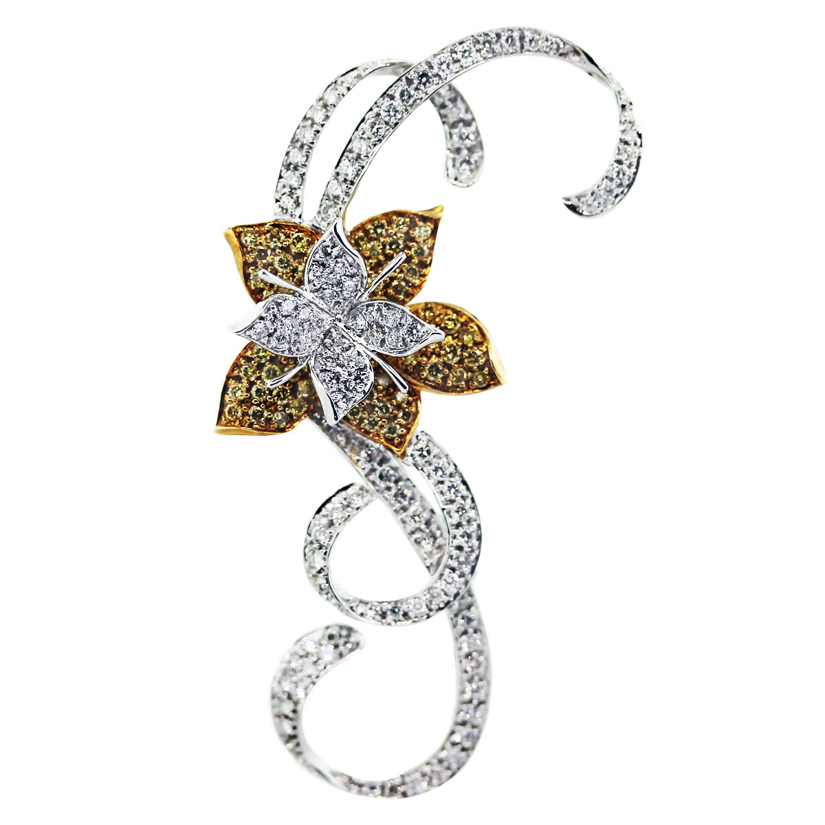 flower two tone diamond pin