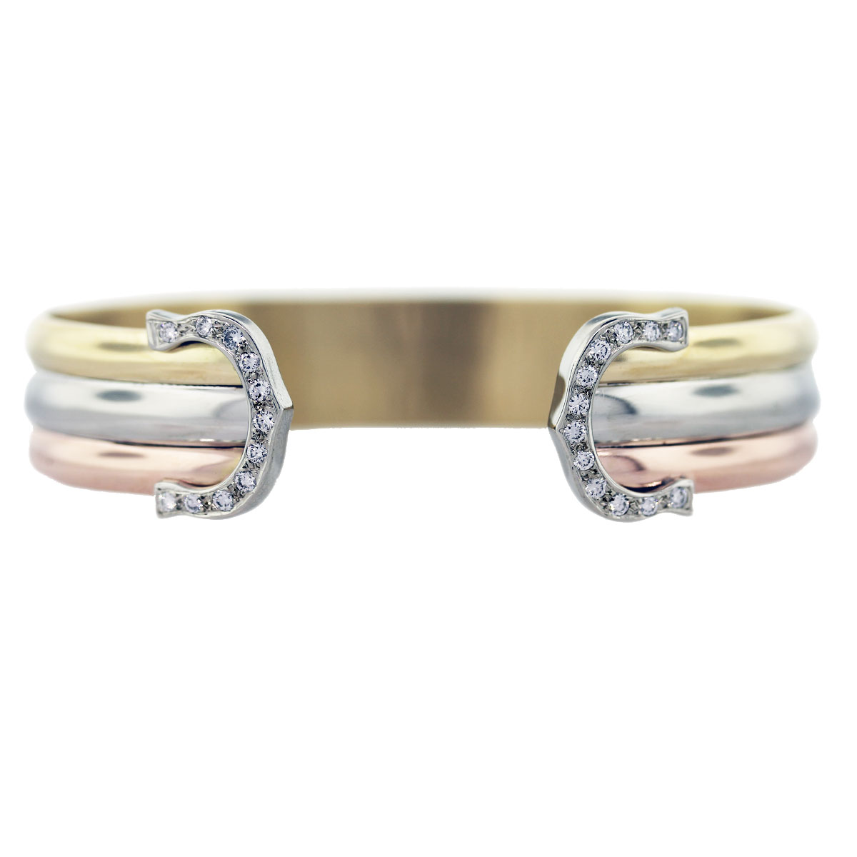 yellow white rose gold diamond cuff bracelet