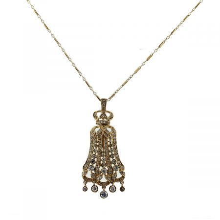 14k Yellow Gold 2ctw Diamond Chandelier Pendant Necklace and Chain