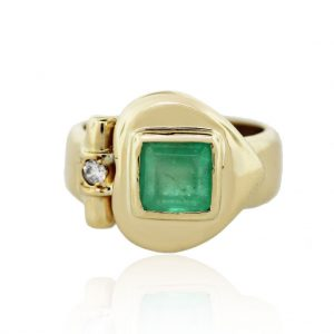 Emerald Yellow Gold Ring