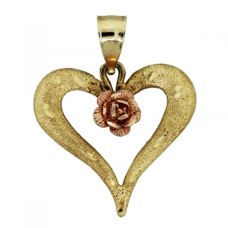 14k Yellow Gold and Rose Gold Heart Pendant