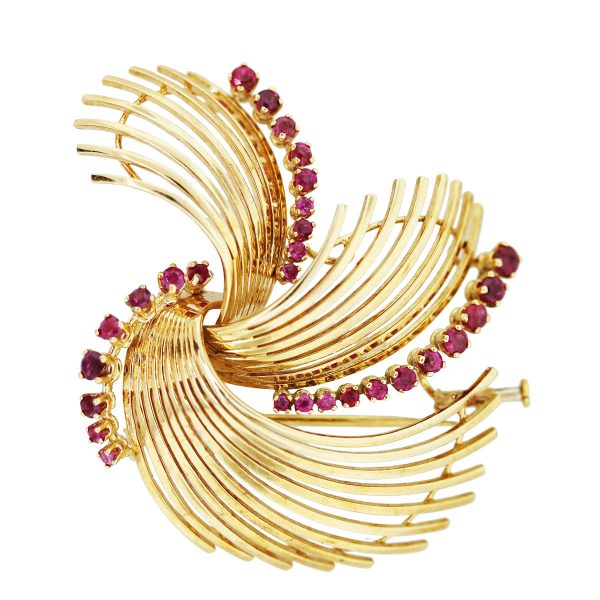 18k Yellow Gold and Ruby Pin