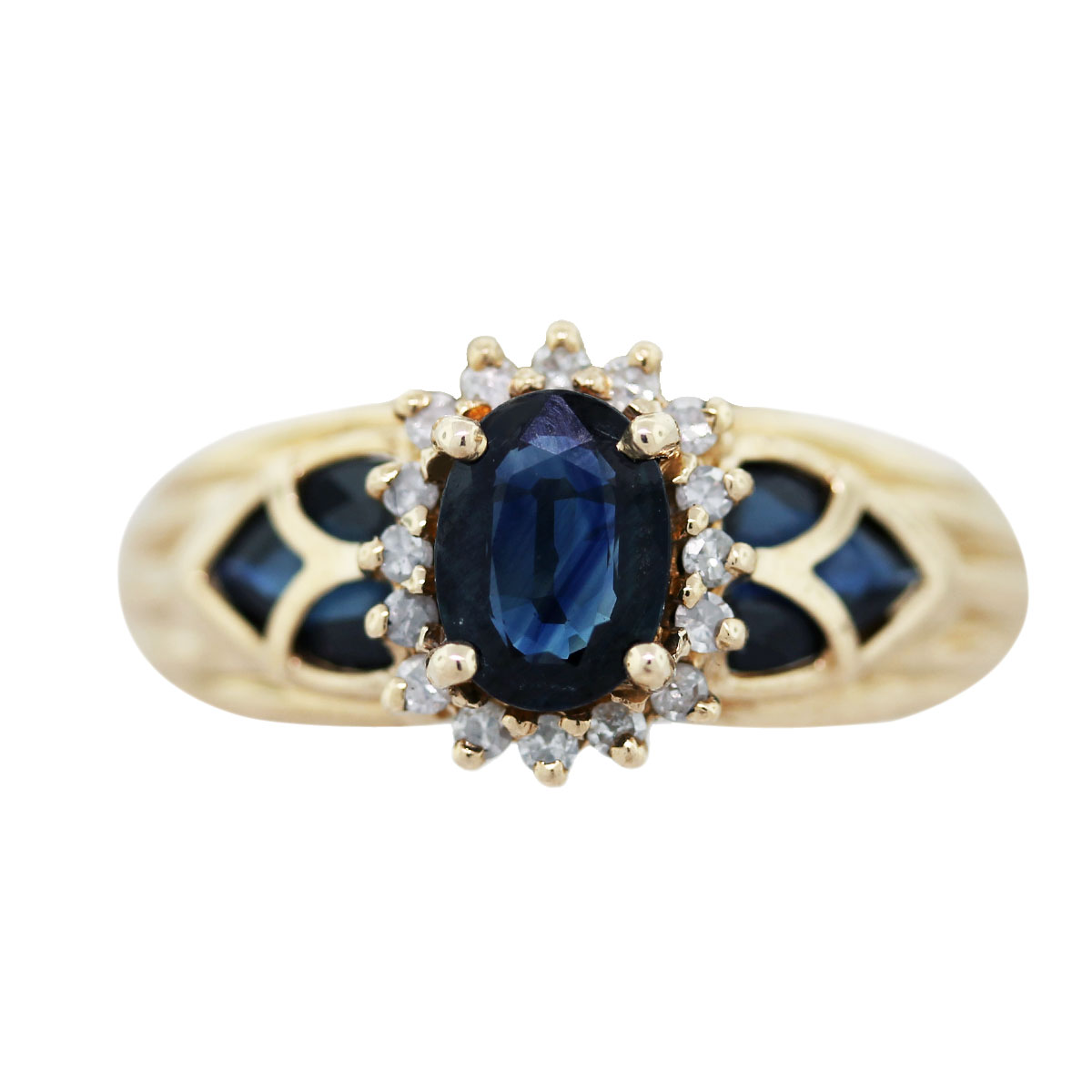 gold sapphire diamong ring