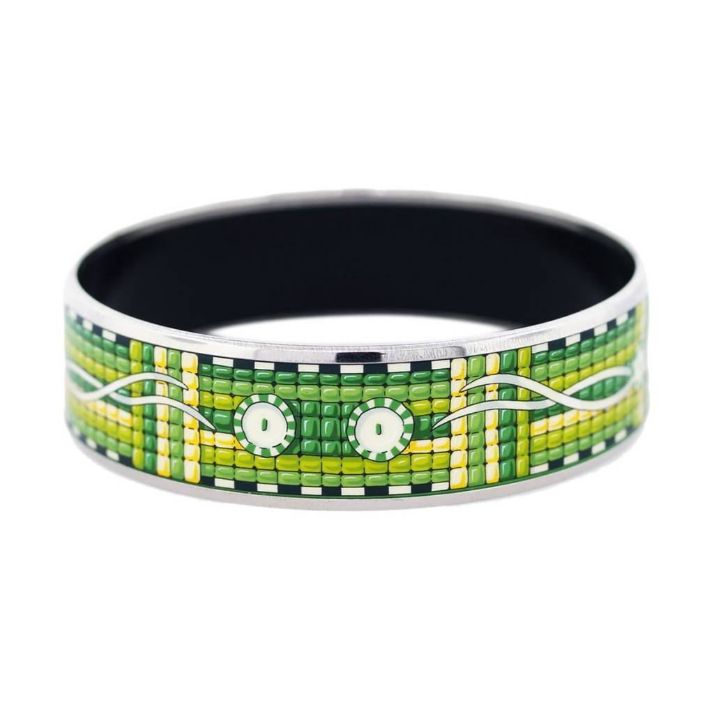 Hermes Green Yellow And White Vintage H Logos Enamel Bracelet Size 65