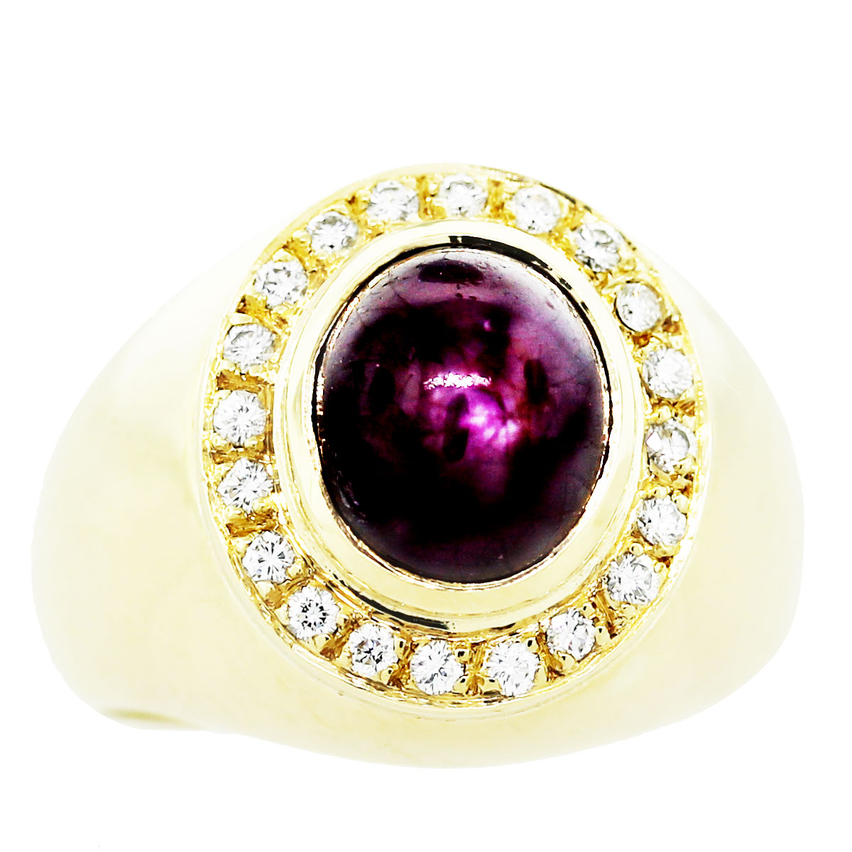18K Yellow Gold Star Ruby and Diamond Ring