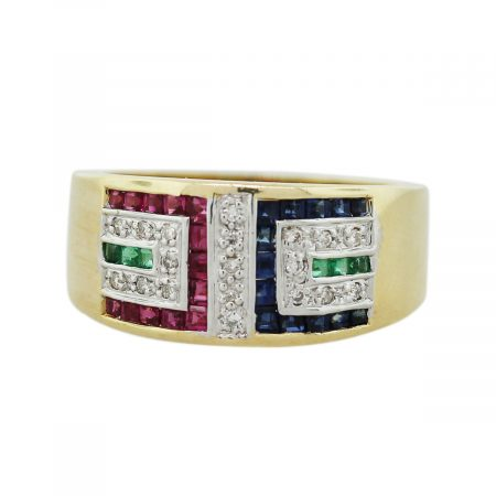 Gold, Ruby, Sapphire, Emerald, Diamond Deco Inspired Wedding Band
