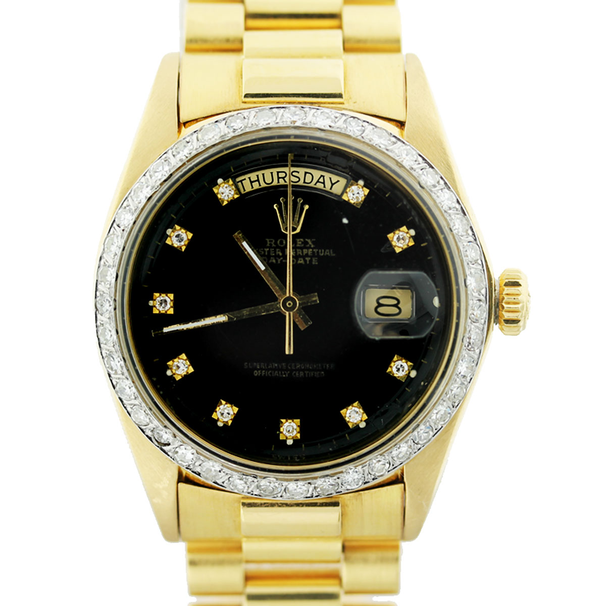 Rolex 1803 18k Yellow Gold President Black Diamond Dial Mens Watch