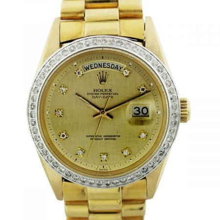 Rolex 1806 18k Gold Non Quickset President Diamond Dial Mens Watch