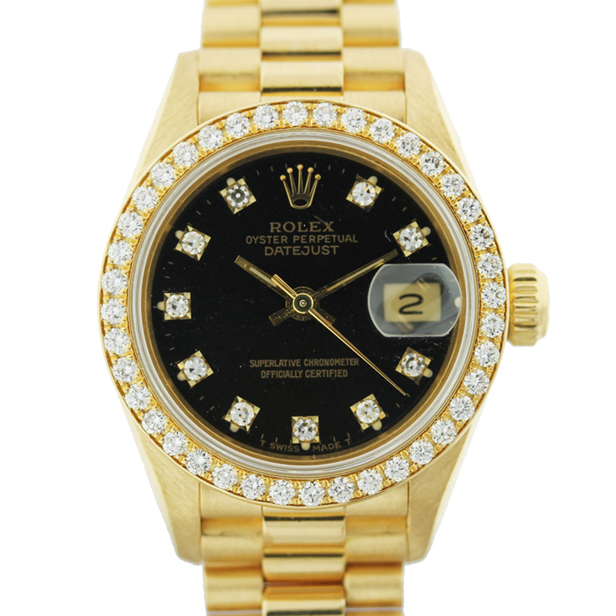 Rolex 69138 President Factory Black Diamond Dial Ladies Watch