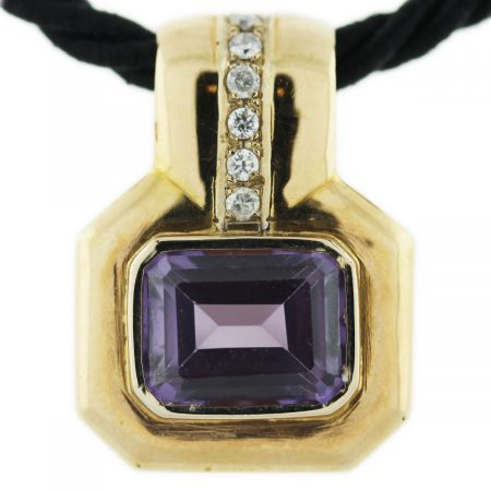 Amethyst and Diamond 18K Yellow Gold Pendant with Silk Cord Necklace