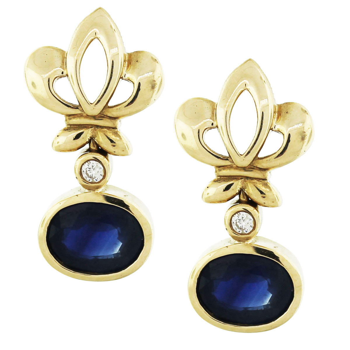 blue sapphire and yellow gold earrings with accent