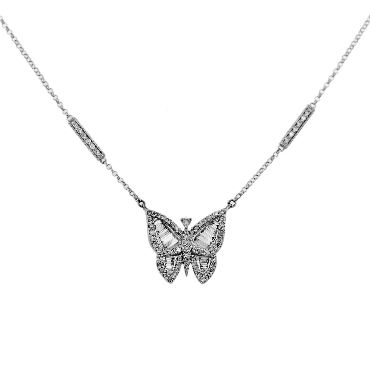 14k White Gold Diamond Butterfly Chain And Pendant Boca Raton