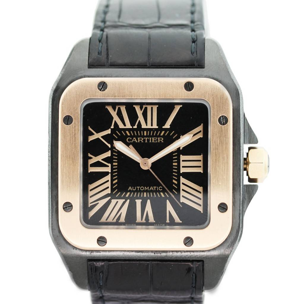 Cartier Santos 100 XL W2020009 Leather Strap Mens 18k Rose Gold Watch