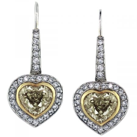 heart earrings yellow diamond white gold yellow gold two tone