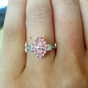 Marquise Shaped Pink Diamond Engagement ring