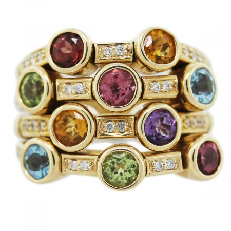 14K White Gold Multi-Gemstone Ring with Diamonds