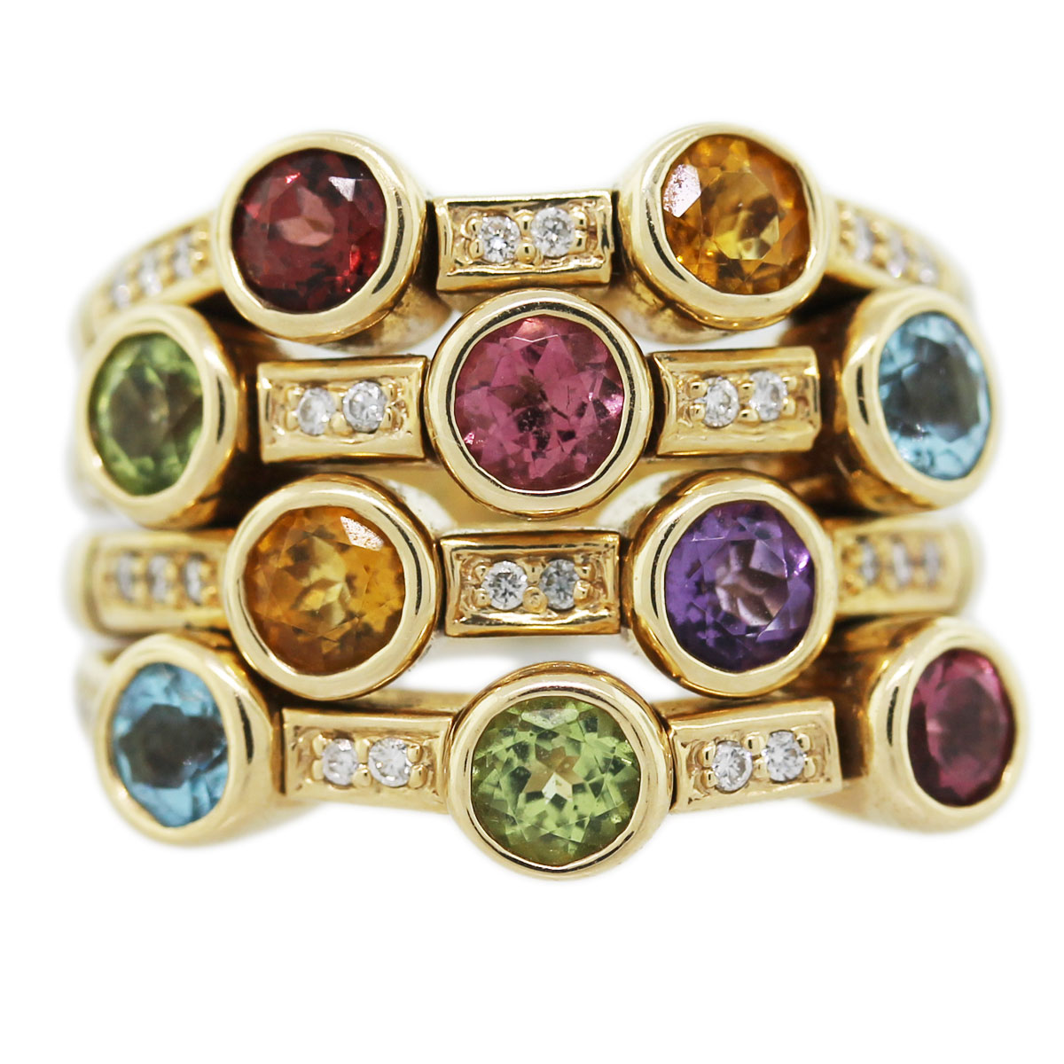 14k yellow gold multi gemstone ring with diamonds boca raton