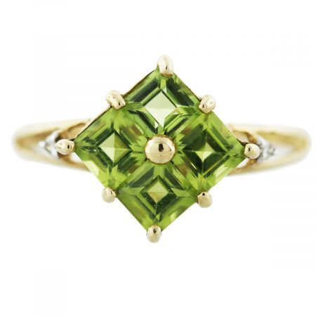 Peridot and Diamond and Yellow Gold Ring