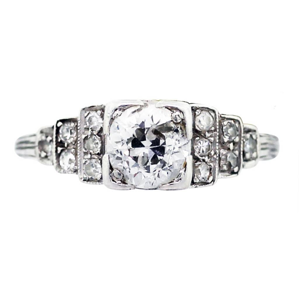 platinum and diamond vintage engagement ring boca raton