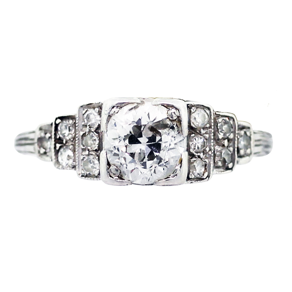 Platinum and Diamond Vintage Engagement Ring