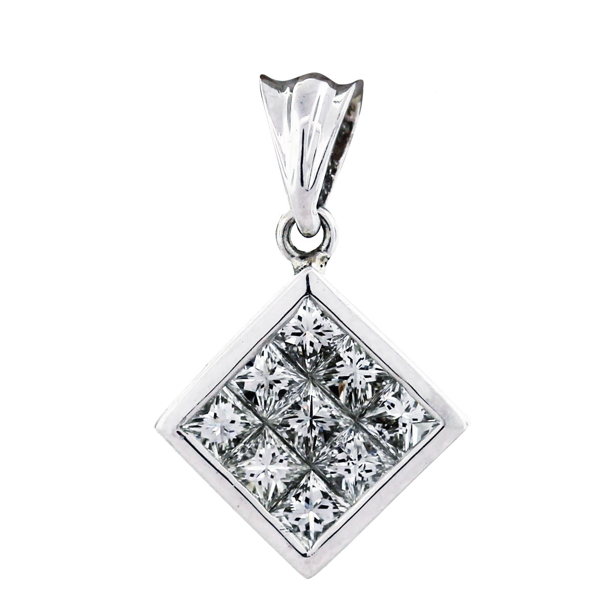 18K White gold Invisible Set Princes Cut Diamond Pendant