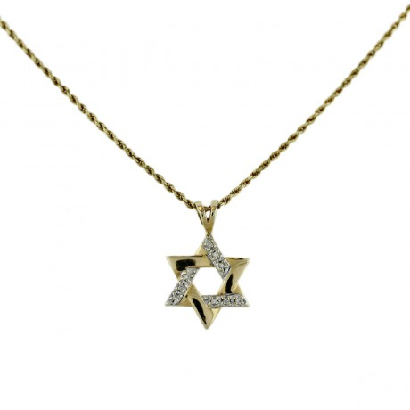 14k Yellow Gold Diamond Star of David Pendant Chain Necklace