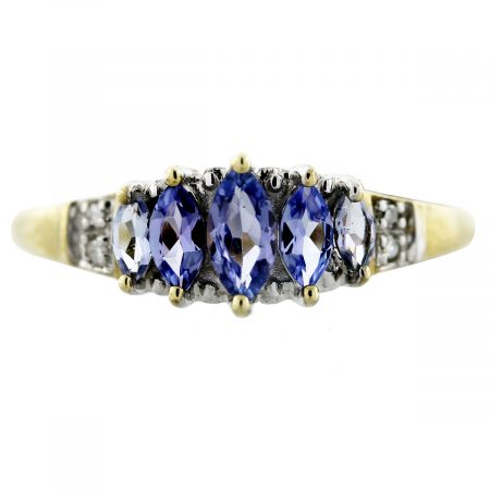 Tanzanite and Diamond Yellow Gold Ring