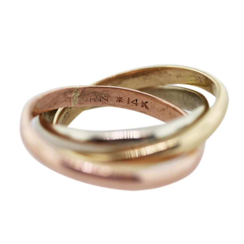 14k tri color gold rolling ring style wedding band boca raton