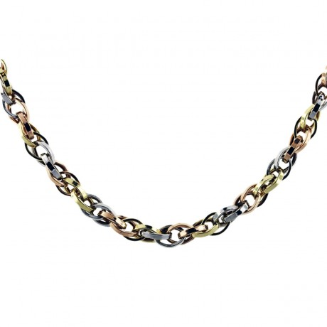 18k Tri Tone Gold Chain Necklace
