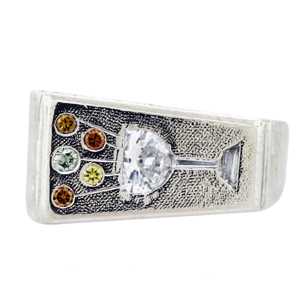 14k white gold and colored cocktail ring boca raton
