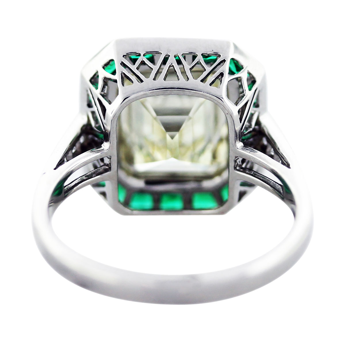 5 ct emerald cut diamond emerald platinum engagement ring boca raton