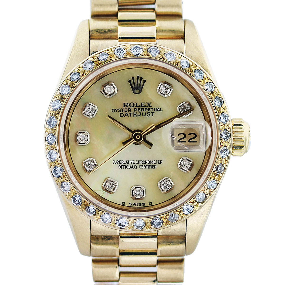 rolex 18k yellow gold diamond bezel diamond dial