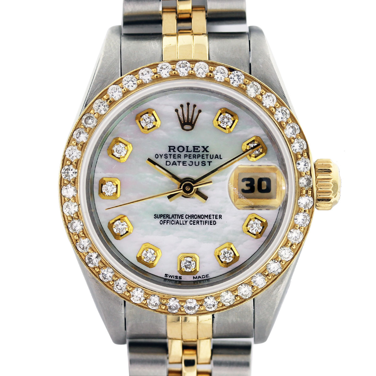 rolex diamond bezel mother of pearl two tone