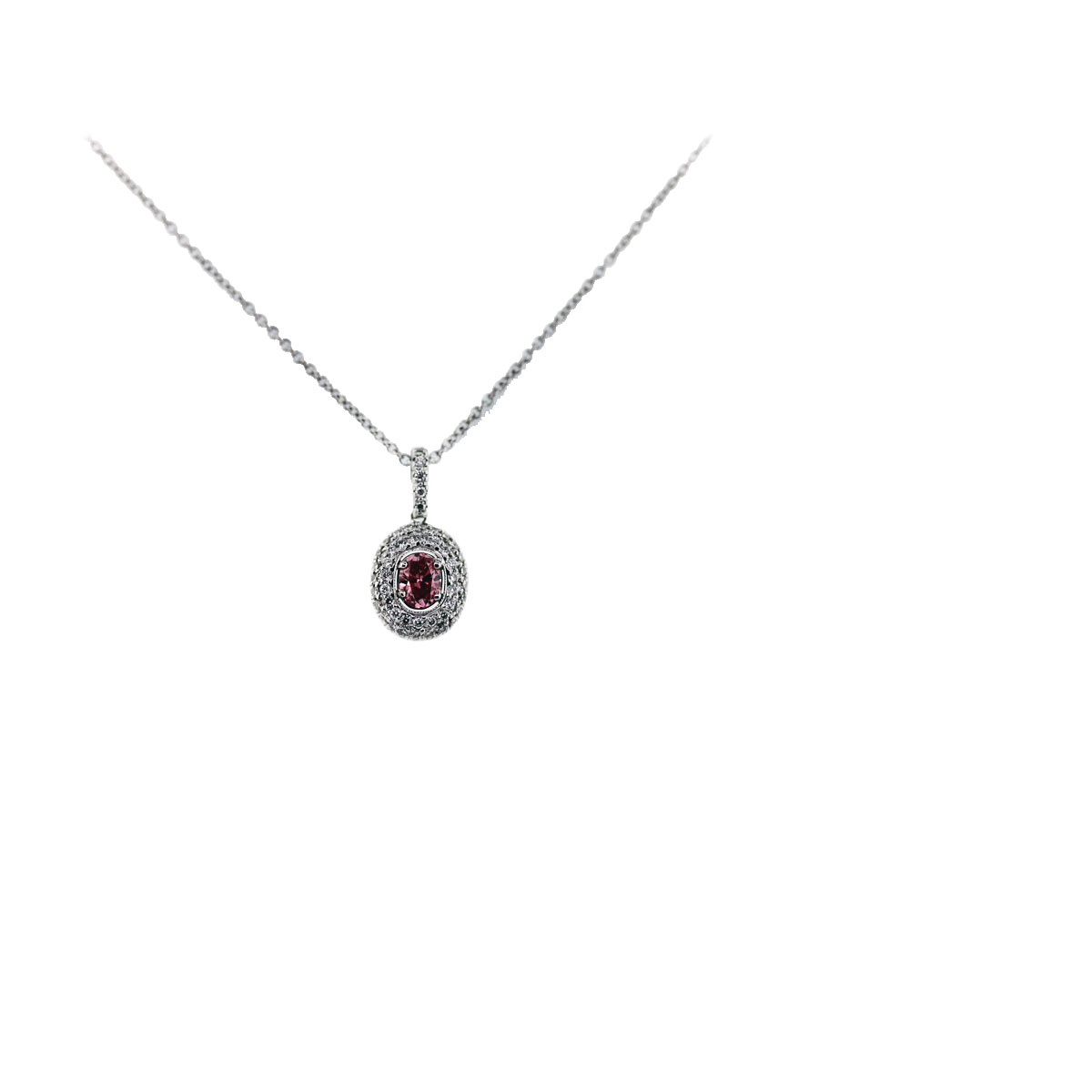 pink diamond oval pendant